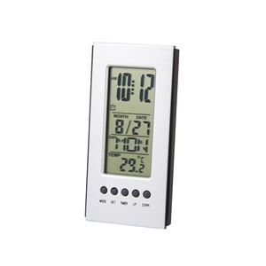 デスクオンスリムクロック/置き時計【カウントダウンタイマー】アラーム・カレンダー・温度計