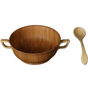 【訳あり・在庫処分】RIVERET(リヴェレット) 竹製 スープカップセット ブラウン RV-203B