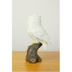 吉鳥の白ふくろう親子セット(置物) ポリレジン樹脂・ガラス製 〔インテリアグッズ 贈り物〕