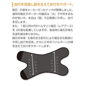 磁気膝サポーター/磁気治療器 【ベージュ Mサイズ】 着脱簡単 手洗い可 『ペガサス PEGASUS』