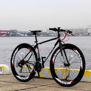 クロスバイク 700c(約28インチ)/ブラック(黒) シマノ21段変速 重さ14.3kg 【NYMPH】 ニンフ CAC-025 - 拡大画像