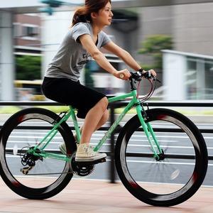 クロスバイク 700c(約28インチ)/グリーン(緑) シマノ21段変速 重さ14.3kg 【NYMPH】 ニンフ CAC-025 - 拡大画像