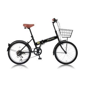 折りたたみ自転車 20インチ/ブラック(黒) シマノ6段変速 【Raychell】 レイチェルFB-206R - 拡大画像