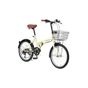 折りたたみ自転車 20インチ/アイボリー シマノ6段変速 【Raychell】 レイチェルFB-206R - 拡大画像