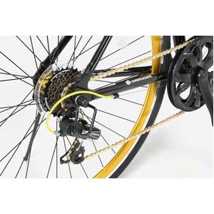 クロスバイク 700c(約28インチ)/ブラック(黒) シマノ7段変速 重さ/ 12.0kg 軽量 アルミフレーム 【LIG MOVE】