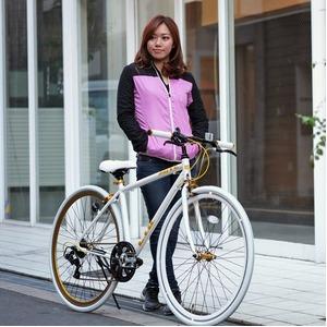 クロスバイク 700c(約28インチ)/ホワイト(白) シマノ7段変速 重さ/ 12.0kg 軽量 アルミフレーム 【LIG MOVE】 - 拡大画像