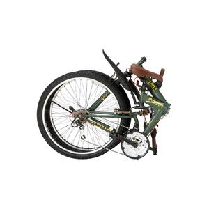 折りたたみ自転車 26インチ/オリーブ シマノ18段変速 ブロックタイヤ 【Raychell】 レイチェル R-314N
