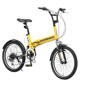 折りたたみ自転車 20インチ/イエロー(黄) シマノ6段変速 【HUMMER】 ハマー FDB206 W-sus - 拡大画像