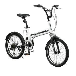 折りたたみ自転車 20インチ/ホワイト(白) シマノ6段変速 【HUMMER】 ハマー FDB206 W-sus - 拡大画像
