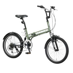 折りたたみ自転車 20インチ/マットグリーン(緑) シマノ6段変速 【HUMMER】 ハマー FDB206 W-sus - 拡大画像