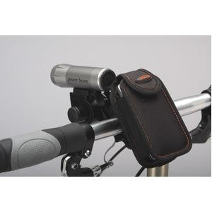 カラビナ付きフォンケース&ミニバー装備ブラケットセット 【IBERA】 IB-PB4+Q2 ブラック(黒) 〔自転車パーツ/アクセサリー〕 - 拡大画像