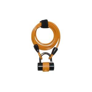 ワイヤーロック/多機能ロック 1800mmロングワイヤー 【J&C】 JC-019W オレンジ 〔自転車パーツ/アクセサリー〕