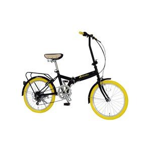 折りたたみ自転車20インチ/イエロー(黄)シマノ6段変速【MIWA】ミワFD1B-206