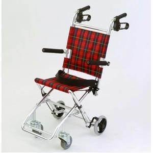 介助式小型折りたたみ車椅子チビポン/チェックレッド(赤)携帯タイプ/跳ね上げ式肘かけ【MIWA】ミワHTB-AC1