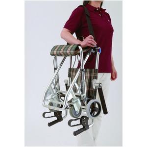 介助式小型折りたたみ車椅子 チビポン/チェックレッド(赤) 携帯タイプ/跳ね上げ式肘かけ 【MIWA】 ミワ HTB-AC1