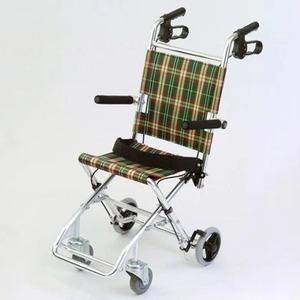 介助式小型折りたたみ車椅子チビポン/チェックダークグリーン(緑)携帯タイプ/跳ね上げ式肘かけ【MIWA】ミワHTB-AC1
