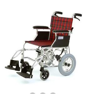 介助式折りたたみ車椅子ミニポン/チェックレッド(赤)アルミ製軽量コンパクトタイプ【MIWA】ミワHTB-12