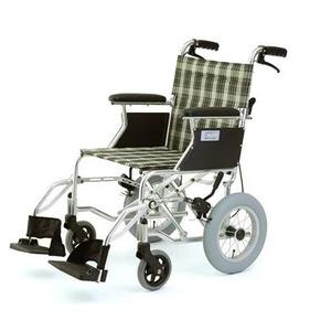 介助式折りたたみ車椅子ミニポン/チェックグリーン(緑)アルミ製軽量コンパクトタイプ【MIWA】ミワHTB-12