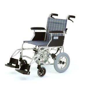 介助式折りたたみ車椅子 ミニポン/チェックブルー(青) アルミ製 軽量コンパクトタイプ 【MIWA】 ミワ HTB-12