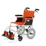 介助式折りたたみ車椅子 ミニポン/オレンジ アルミ製 軽量コンパクトタイプ 【MIWA】 ミワ HTB-12
