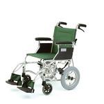 介助式折りたたみ車椅子 ミニポン/グリーン(緑) アルミ製 軽量コンパクトタイプ 【MIWA】 ミワ HTB-12