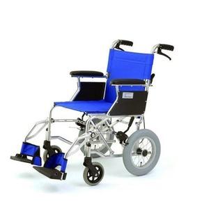 介助式折りたたみ車椅子 ミニポン/ブルー(青) アルミ製 軽量コンパクトタイプ 【MIWA】 ミワ HTB-12