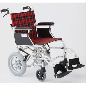 介助式車椅子 チェックレッド(赤) アルミ製 バ...の商品画像