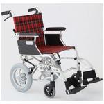 介助式車椅子 チェックレッド(赤) アルミ製 バンドブレーキ仕様/軽量コンパクトタイプ 【MIWA】 ミワ HTB-12D