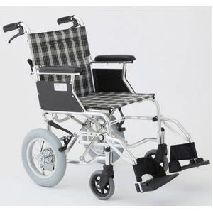 介助式車椅子チェックグリーン(緑)アルミ製バンドブレーキ仕様/軽量コンパクトタイプ【MIWA】ミワHTB-12D