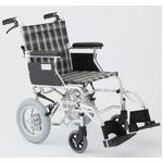 介助式車椅子 チェックグリーン(緑) アルミ製 バンドブレーキ仕様/軽量コンパクトタイプ 【MIWA】 ミワ HTB-12D