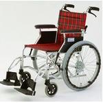 自走/介助兼折りたたみ車椅子 ラクポン/チェックレッド(赤) アルミ製 軽量コンパクトタイプ 【MIWA】 ミワ HTB-20D