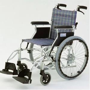 自走/介助兼折りたたみ車椅子ラクポン/チェックブルー(青)アルミ製軽量コンパクトタイプ【MIWA】ミワHTB-20D