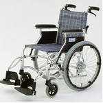 自走/介助兼折りたたみ車椅子 ラクポン/チェックブルー(青) アルミ製 軽量コンパクトタイプ 【MIWA】 ミワ HTB-20D