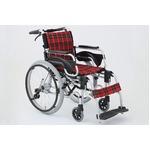 多機能折りたたみ車椅子 デラックスII/レッド(赤) アルミ製 持ち手付き 【MIWA】 ミワ HTB-22DX