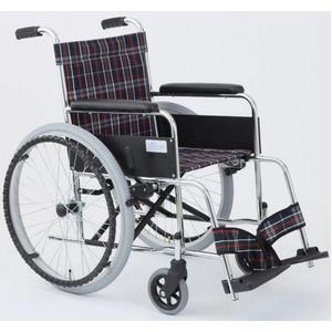 自走式折りたたみ車椅子リーズ/チェックネイビー(紺)背面ポケット付き【MIWA】ミワMW-22ST