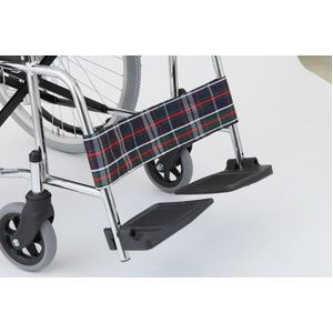 自走式折りたたみ車椅子 リーズ/チェックネイビー(紺) 背面ポケット付き 【MIWA】 ミワ MW-22ST