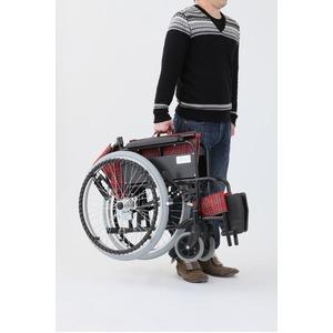 自走/介助折りたたみ車椅子 アミー22/ターコイズブルー(青) アルミ製 持ち手付き 【MIWA】 ミワ MW-22AII