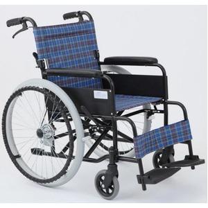 自走/介助折りたたみ車椅子アミー22/ターコイズブルー(青)アルミ製ノーパンク仕様/持ち手付き【MIWA】ミワMW-22AIIN