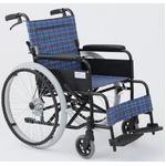 自走/介助折りたたみ車椅子 アミー22/ターコイズブルー(青) アルミ製 ノーパンク仕様/持ち手付き 【MIWA】 ミワ MW-22AIIN