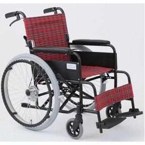 自走/介助折りたたみ車椅子アミー22/ルビーレッド(赤)アルミ製ノーパンク仕様/持ち手付き【MIWA】ミワMW-22AIIN
