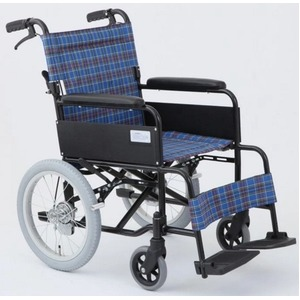 介助式折りたたみ車椅子 アミー16/ターコイズブルー(青) アルミ製 ノーパンク仕様/持ち手付き 【MIWA】 ミワ MW-16AN