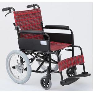 介助式折りたたみ車椅子アミー16/ルビーレッド(赤)アルミ製ノーパンク仕様/持ち手付き【MIWA】ミワMW-16AN