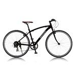 クロスバイク 700c(約28インチ)/ブラック(黒) シマノ7段段変速 重さ12.3kg アルミフレーム 【Ferrari】 フェラーリ AL-CRB7007