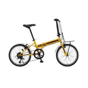 折りたたみ自転車 20インチ/イエロー(黄) シマノ7段変速 【HUMMER】 ハマー FDB207-R4 - 拡大画像