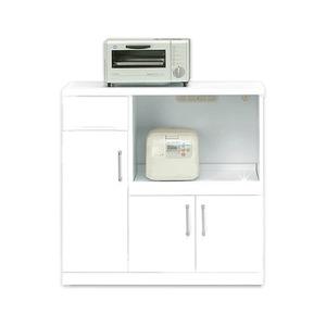 キッチンカウンター幅90cm二口コンセント/可動棚/キャスター付き日本製ホワイト(白)【完成品】