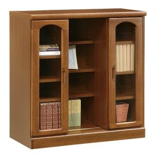 スライド式書棚/本棚 【ロータイプ/幅80cm】 木製 ガラス扉/可動棚付き 日本製 ブラウン 【完成品】