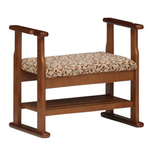 ベンチチェア/座椅子 【幅60cm】 木製/ウレタンフォーム 収納棚/肘付き/座面高3段階調節可 レッド(赤) 【組立品】