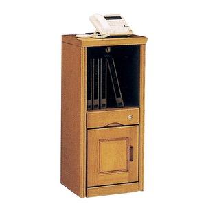 電話台/FAX台 【A型/幅36cm】 木製 扉/スライドコンセント/鍵付き ナチュラル 【完成品】