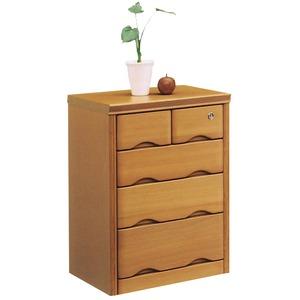 4段チェスト(サイドボード) 【幅50cm】 木製 鍵付き ナチュラル 【完成品】