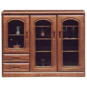 サイドボード/リビングボード 【幅120cm】 木製(天然木) 扉/引き出し収納付き 面取りガラス仕様 ブラウン 【完成品】